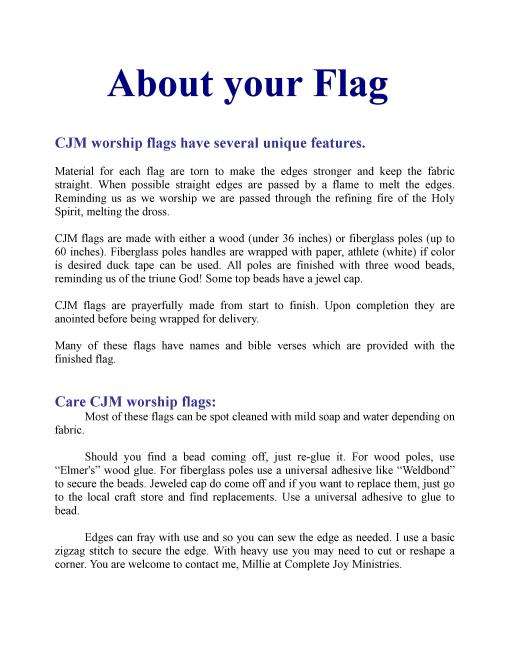 CJM flag infomation 2