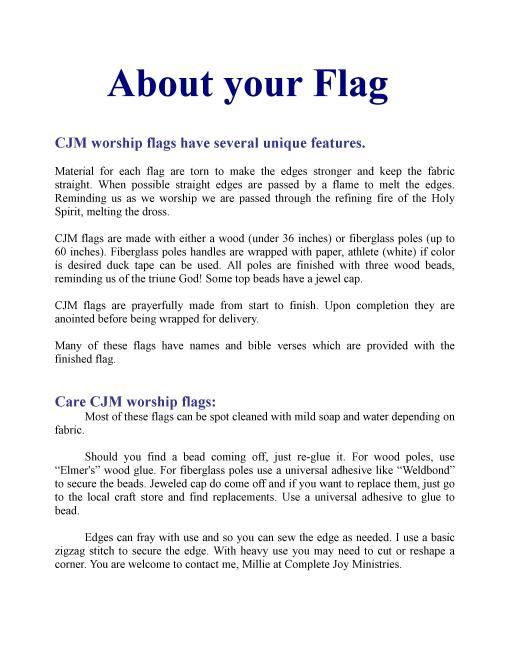 CJM flag infomation 2