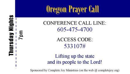 Oregon Prayer Call back