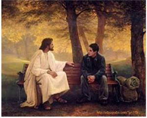 Jesus with boy on bench